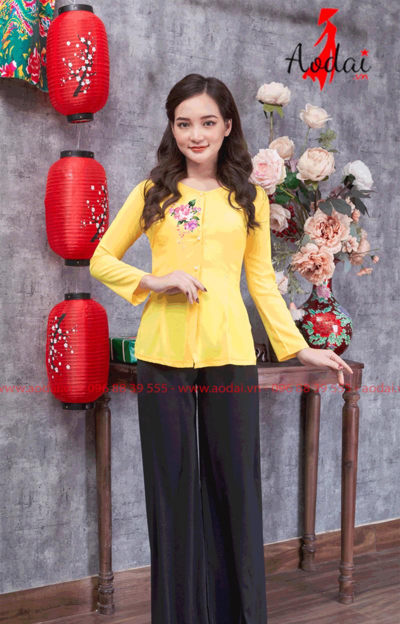 Áo bà ba in hoa màu vàng 20