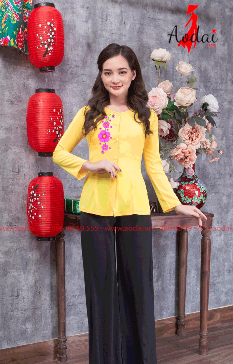 Áo bà ba in hoa màu vàng 21