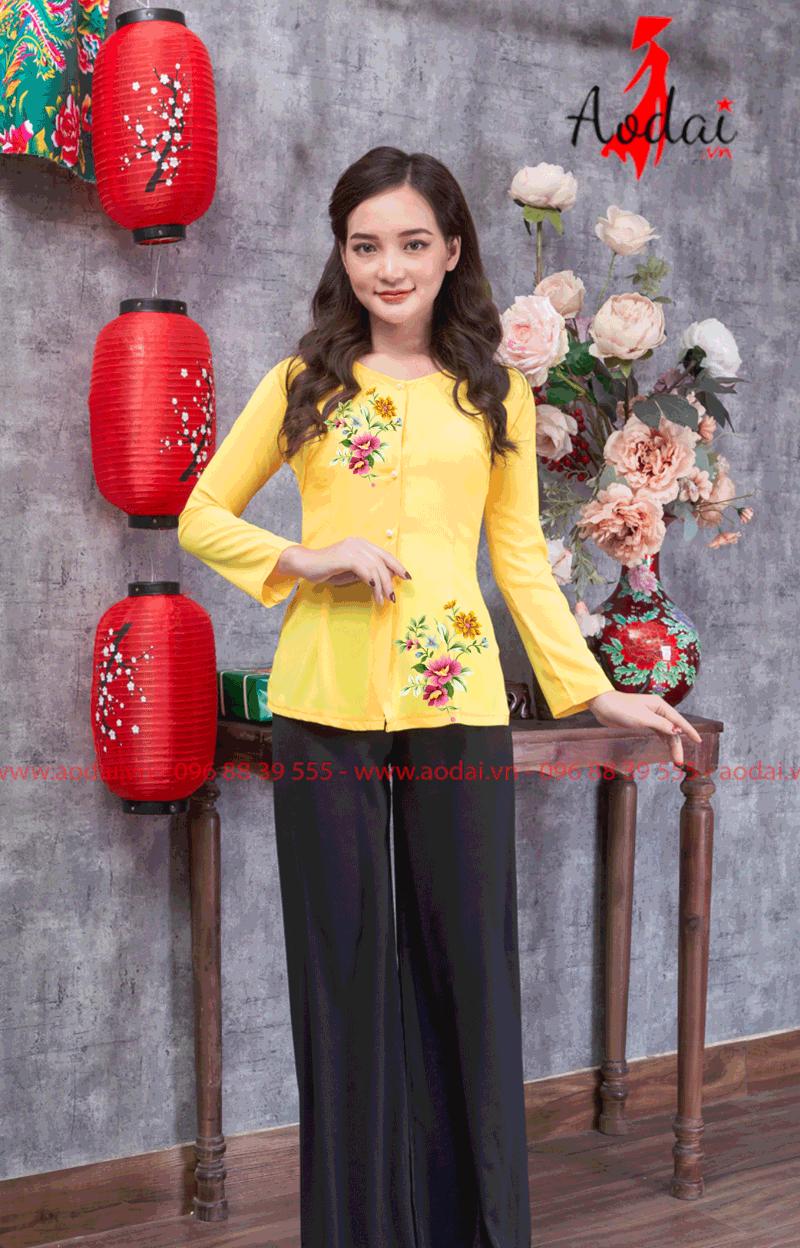 Áo bà ba in hoa màu vàng 23