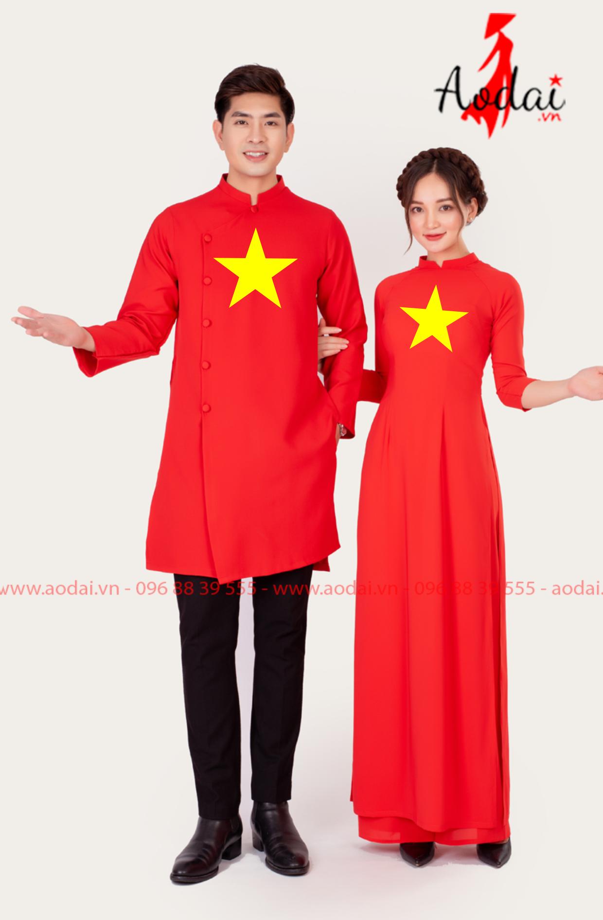 Áo dài cờ đỏ sao vàng đẹp