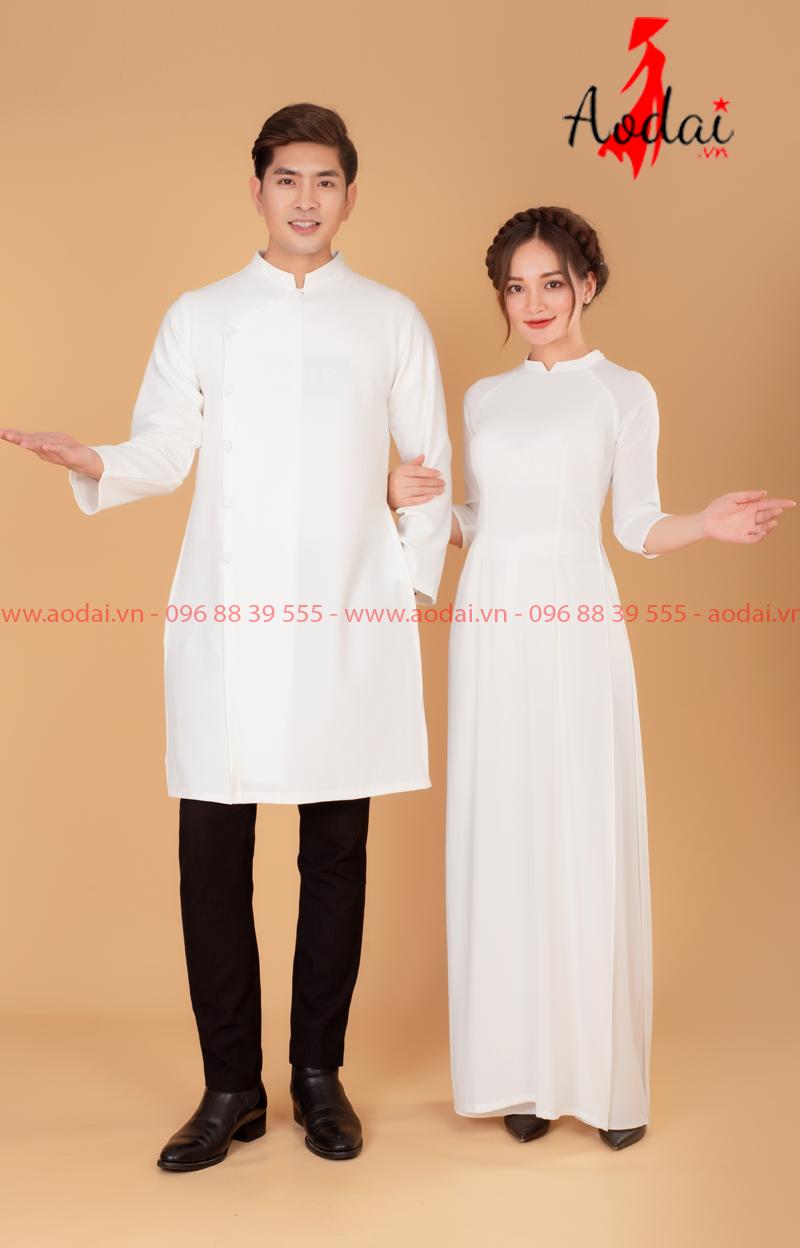 Áo dài đôi màu trắng