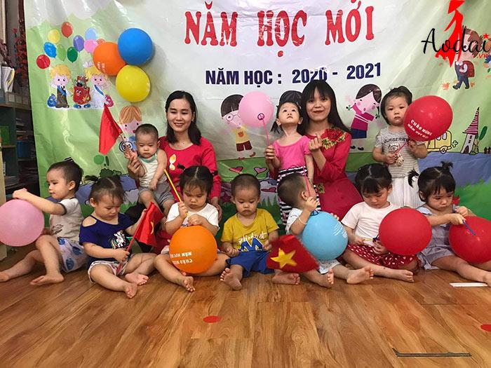 Áo dài giáo viên trường Mầm non Ánh Dương Hà Nội | Ao dai giao vien mam non