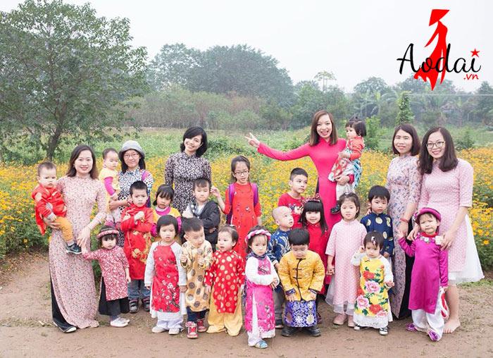 Áo dài giáo viên trường Mầm non Bông Gạo Hà Nội