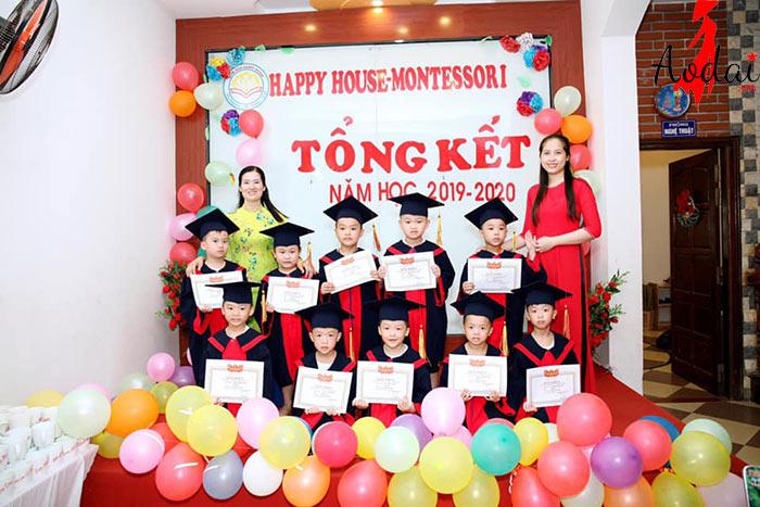 Áo dài giáo viên trường Mầm non Happy House - Montessori Hà Nội | Ao dai giao vien mam non