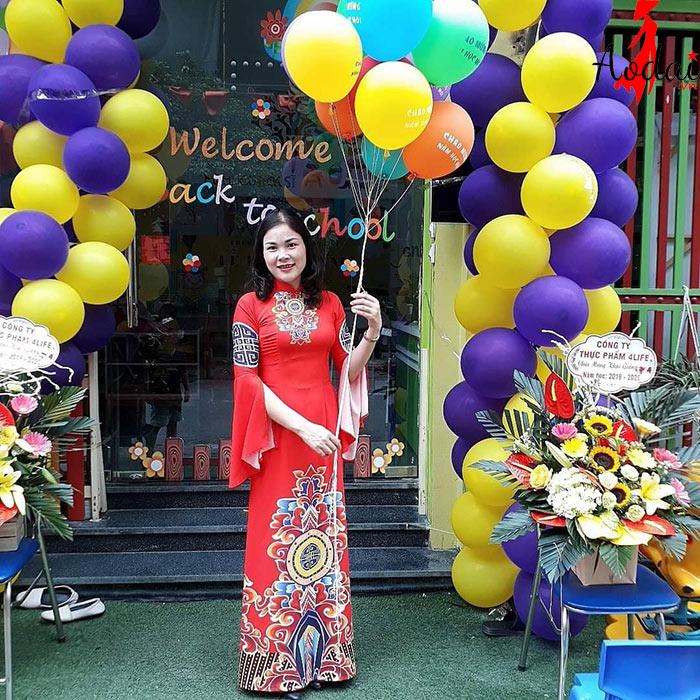 Áo dài giáo viên trường Mầm non Happy Kids Hà Nội