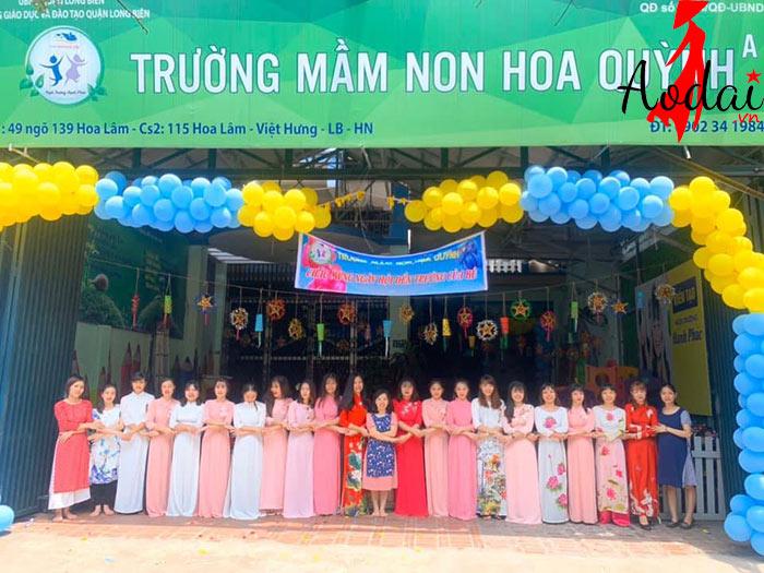 Áo dài giáo viên trường Mầm non Hoa Quỳnh Hà Nội