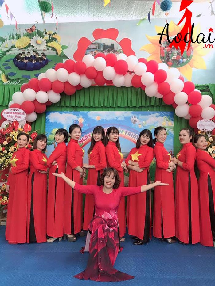  Áo dài giáo viên trường mầm non Hoa Việt Hà Nội | Ao dai giao vien mam non