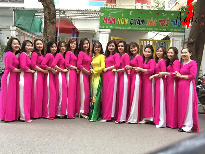 Áo dài giáo viên trường Mầm non Kid Care Hà Nội