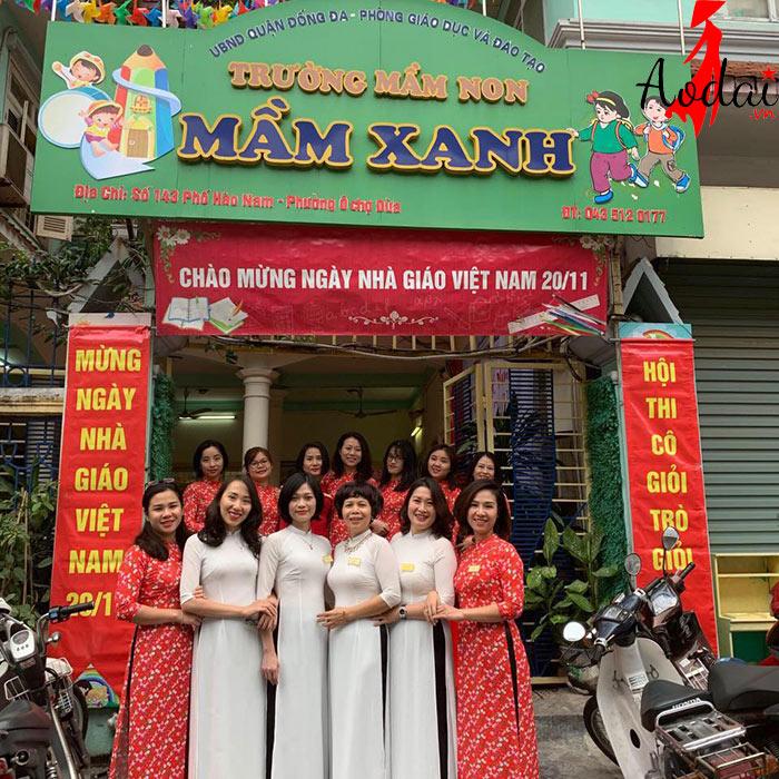 Áo dài giáo viên trường Mầm non Mầm xanh Hà Nội