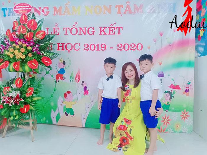 Áo dài giáo viên trường Mầm non Tâm Anh Hà Nội | Ao dai giao vien mam non