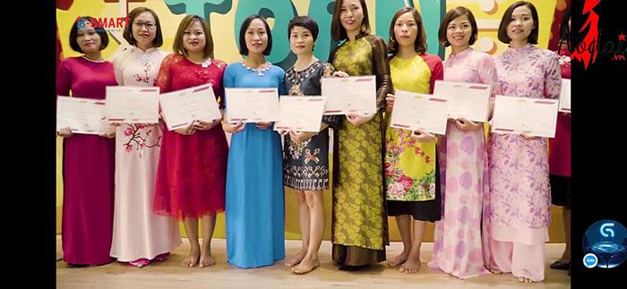 Áo dài giáo viên trường Mầm non Thỏ Ngọc Hà Nội