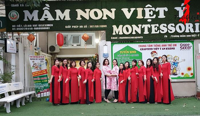 Áo dài giáo viên trường Mầm non Việt Ý Hà Nội