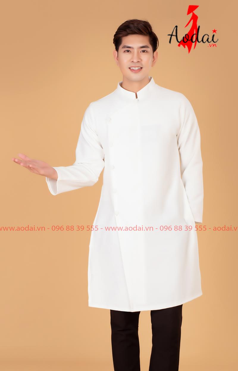 Áo dài nam màu trắng
