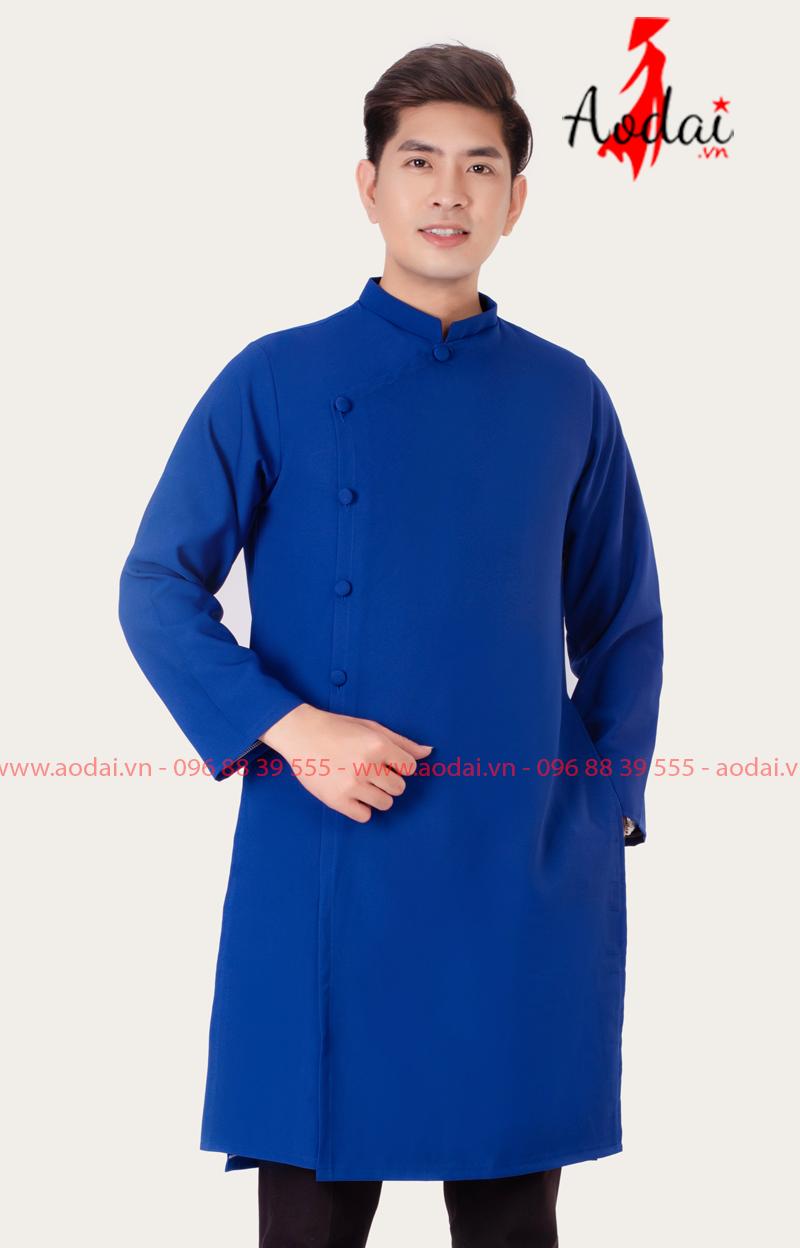 Áo dài nam màu xanh bích