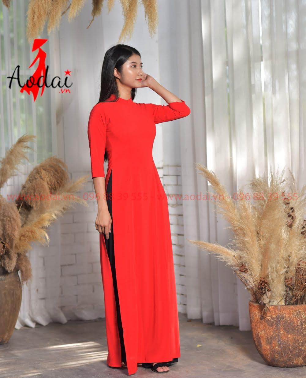 Áo Dài Nữ Cổ Đứng màu Đỏ Quần đen