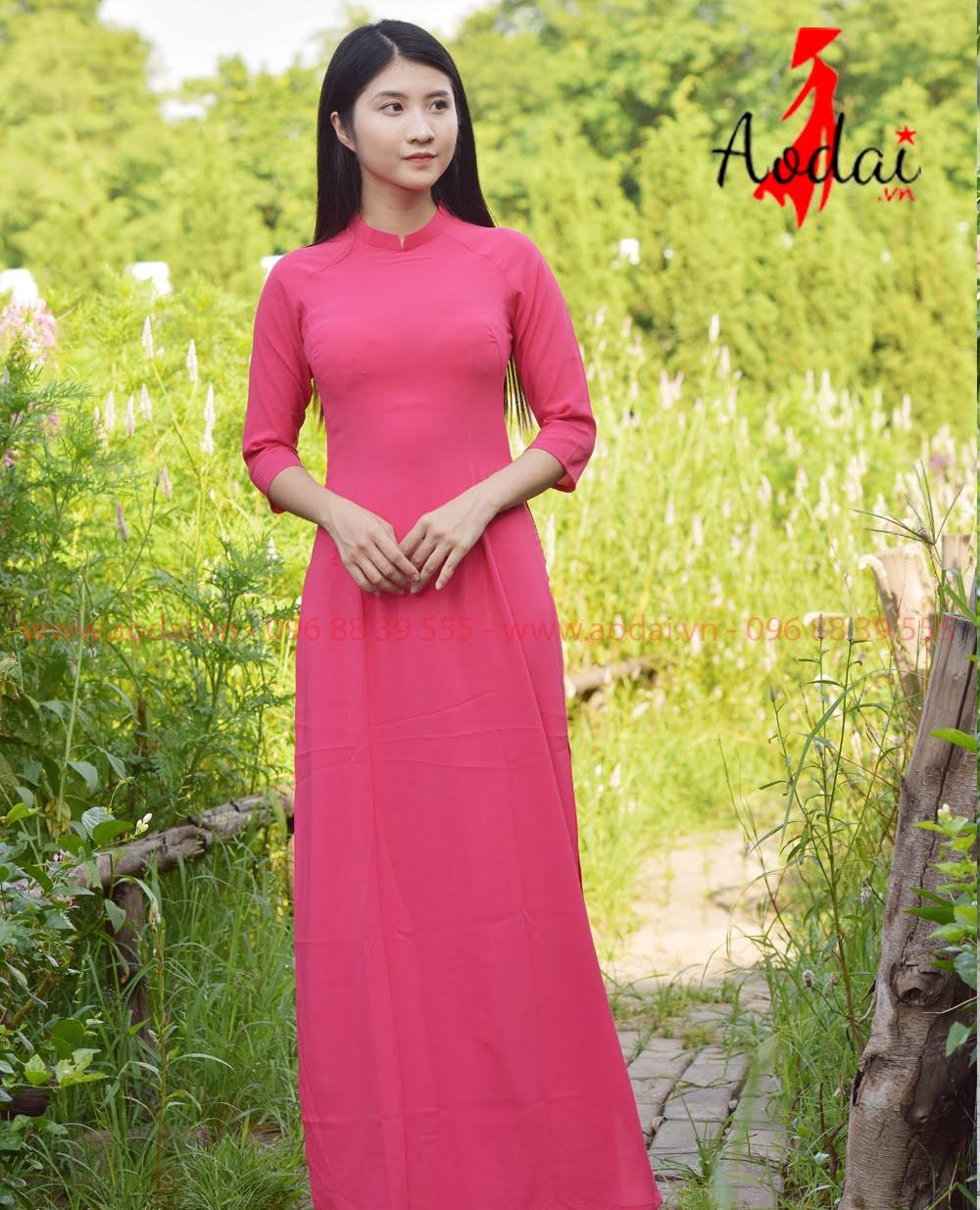 Áo Dài Nữ cổ tròn Hồng Đậm