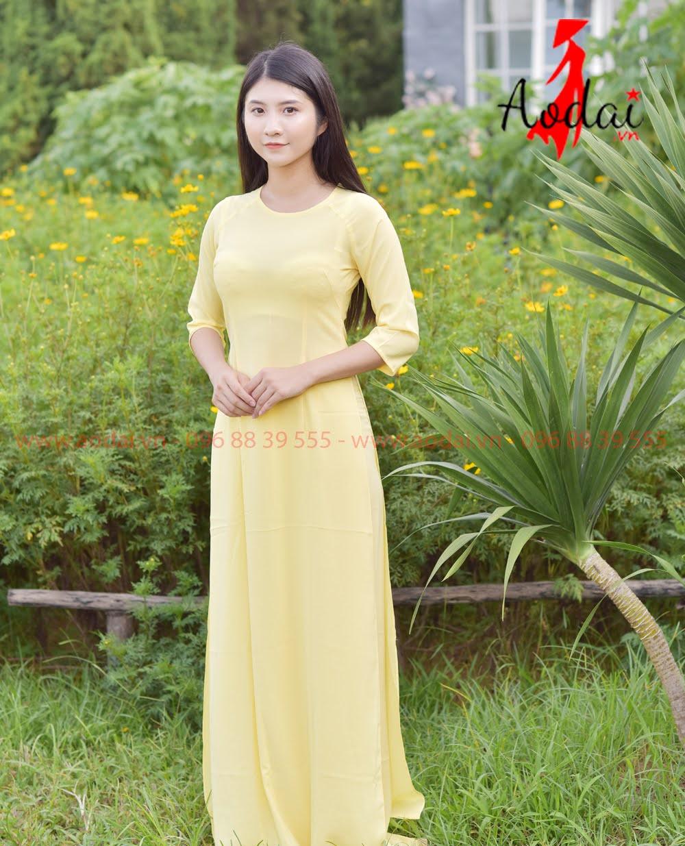 Áo Dài Nữ cổ tròn mầu Vàng Mơ